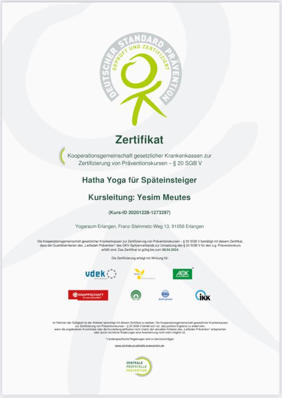 krankenkassen -zertifizierung präventionskurse